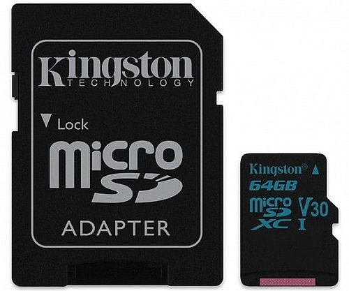Карта MicroSD 64 ГБ Kingston Canvas Go UHS-I,U3,V30, 90 Mb*s с адаптером